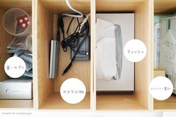 先ほどのウッドボックスを上から見た様子がこちら。カメラ小物類、薬類、書類と大まかな収納にすれば、片付けたい時にもあっというま!ティッシュも良く使うものとはいえ隠してしまうとすっきりしますね。
