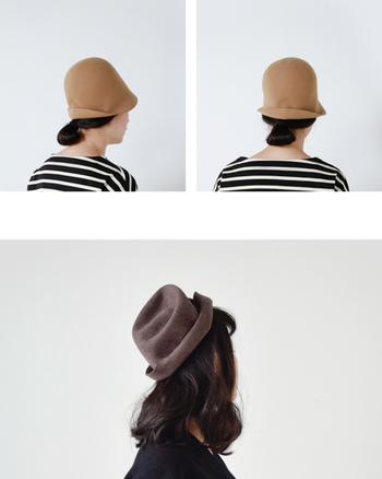 フリーハットという名前の通り、自由自在に自分の好きな形にアレンジできる帽子です。肉厚なフェルト素材なので、形がしっかりとキープできるのも◎。