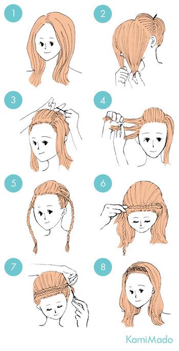 まずセンター分けにして、前髪は後ろに持っていきます。サイドの髪は三つ編みにして、頭を囲うようにしてピンで固定します。三つ編みだけで、とても簡単にできますよ!毛束を水平に持ち上げて編むとうまくいきます。