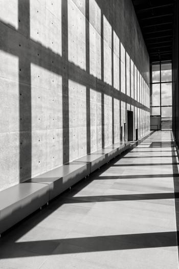 開放的な内廊下は、大きな窓から差し込む光が芸術的。あえてモノクロで撮影して、フォトジェニックな雰囲気に仕上げるのもおすすめです。