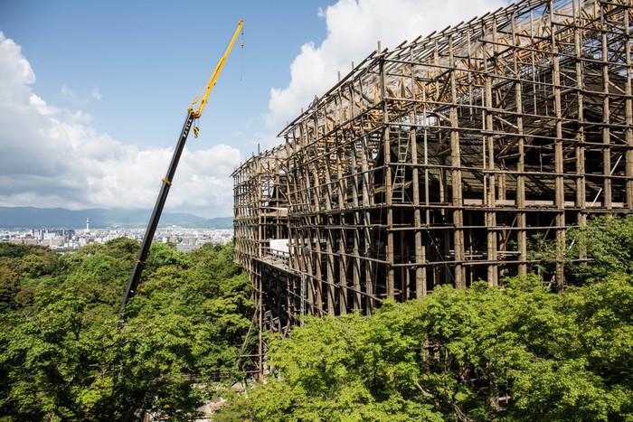 """清水の舞台は、崖の上に巨大な欅(けやき)の柱を並べ、釘を一本も使わずに組み上げたものです。舞台の高さは、4階建てのビルに相当し、檜(ひのき)板を敷き詰めた""""檜舞台""""になっています。"""