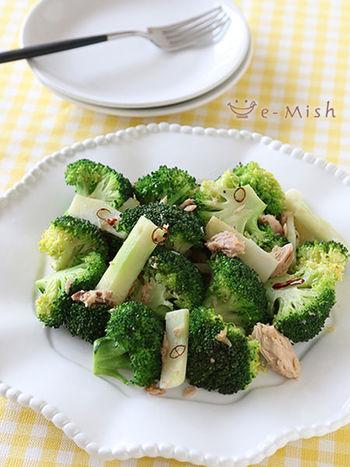 お野菜をどうやってたくさん食べてもらおうかな?というお悩みを解決するひとつの方法が、男子が好きなペペロンチーノ風の味付けにすること。こちらのブロッコリー炒めはにんにくの風味とツナのコクで、パクパク食べられる美味しさです。