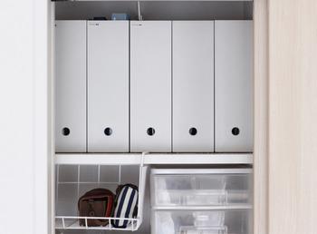 抜群の収納力とシンプルなデザインが魅力の「PPファイルボックス」。書類などを保管するファイルボックスとしてはもちろん、キッチンや洗面所の収納にも大活躍するアイテムです。こちらのブロガーさんのお宅でも、お家の中の様々な場所で活用されているそうです。