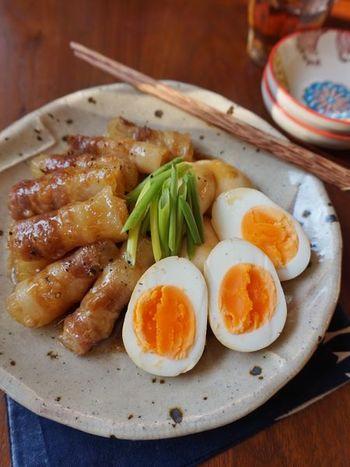 洋食だけでなく、煮物にも使えるのがゆで卵。とろけるような豚巻き大根が絶品のこってり煮レシピです。甘辛でちょっと濃いめの味付けは、ゆで卵にもよく合いますよ♪