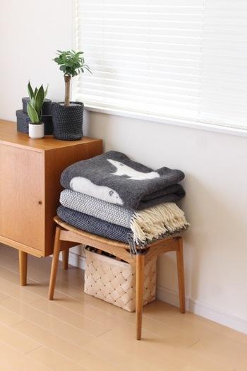 お部屋の片隅のスツールに畳んだブランケットを重ねておくと、一気に秋の風情に。一番上にのせたシロクマのブランケットがキュートですね。