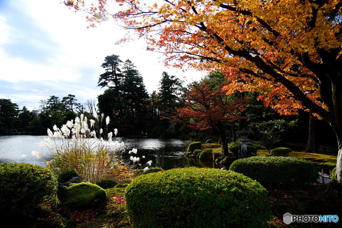 日本を代表する名庭園「兼六園」は、紅葉が楽しめる秋もおすすめ。落ち葉が積もった苔、澄んだ青空など、しみじみ風情が感じられます。