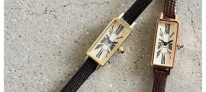"""アンティーク時計の魅力を最大限に表現するブランド「VIDA+(ヴィーダプラス)」。こちらは、レザーベルトスクエアフェイス腕時計""""Mignon""""です。"""