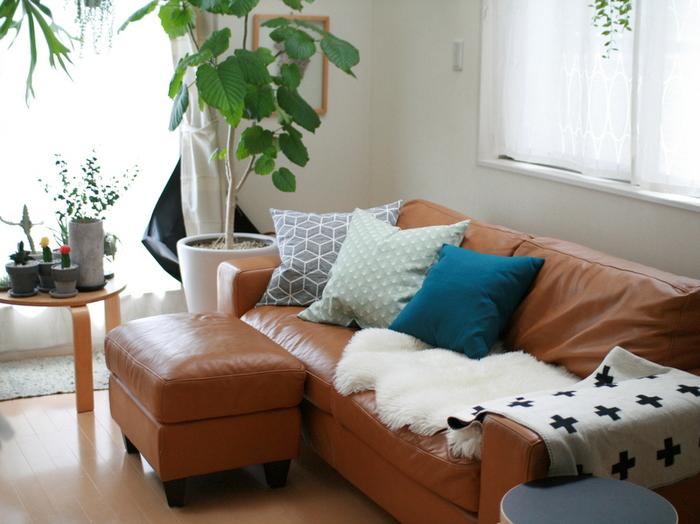 冬はヒヤッと冷たい感触の革製のソファにも、温かみをプラス。素材違い・カラー違いのファブリックを重ねて、表情の違いを楽しんでみて。