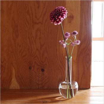 手のひらにすっぽり収まる小泉硝子のフラスコ型の花器です。窓辺にちょこっとお花を飾りたい時に便利。どこかなつかしい実験道具のような佇まいも素敵!