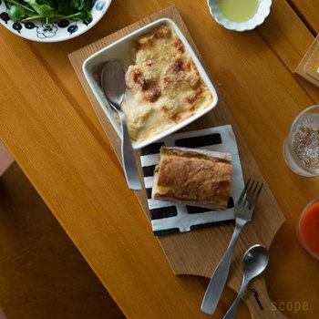 オーブン・電子レンジ対応も可能。熱に強いので、グラタンやラザニアのようなオーブン料理も作れちゃいます。