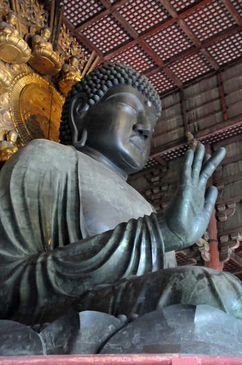 「奈良の大仏」でおなじみの東大寺盧舎那仏像(とうだいじるしゃなぶつぞう)は、東大寺の本尊で聖武天皇の命によって752年に完成された仏像です。高さ約15メートル、基壇の周囲は70メートルにも及ぶ大仏は、世界最大の木造軸組建築物で、国宝に指定されています。