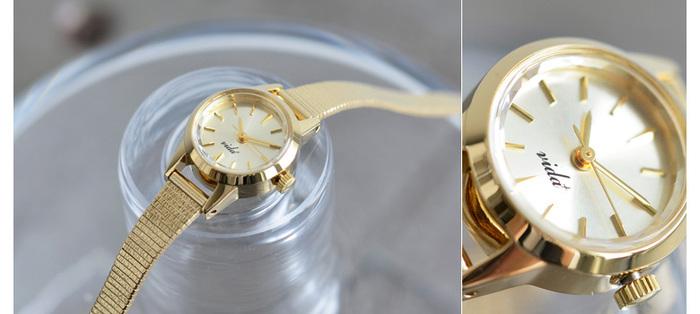 """こちらは、VIDA+の""""ゴールドメタルスモールラウンドフェイス腕時計v-006g""""。70~80年代の人気モデルをベースに、JAPANヴィンテージのテイストを加えたアイテム。トレンドに関係なく、愛される時計です。"""