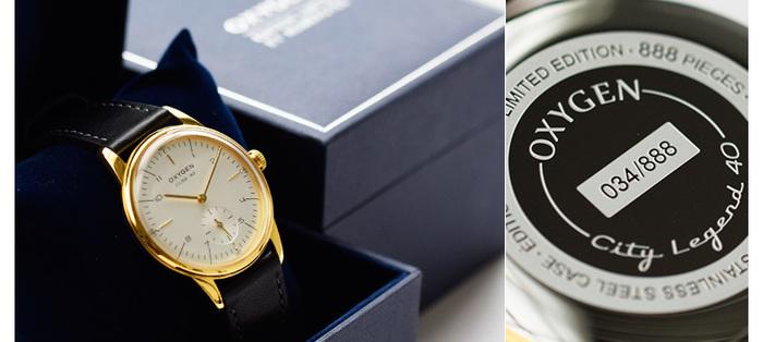"""フランス生まれの洗練された腕時計ブランド「OXYGEN(オキシゲン)」。写真は、世界で限定888個のみ生産の""""City Legend40""""。レザーベルトとゴールドフレームが大人の気品を感じさせてくれます。"""