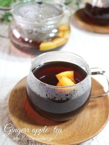 ■ジンジャーアップルティー リンゴとジンジャーピールで作る、スパイシーでほんのり甘い紅茶。ゆったりと、心と体をあたためたい気分のときにどうぞ。