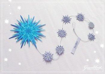 鮮やかなブルーがお部屋を明るくしてくれる、素敵なペーパーオーナメント。玄関やお部屋の一角に飾るだけでとっても素敵に!