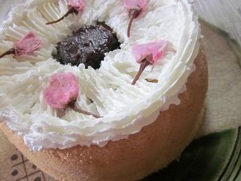 桜のシフォンケーキ。口あたりも軽くてふわふわ。春のお菓子なイメージがするのは、私だけでしょうか。