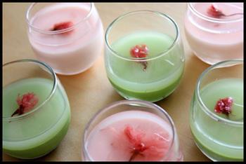 桜と抹茶のプリン(ゼリー)です。お花見やおもてなしにもオススメです♪ピンクとグリーンが美しいですね。なめらかな仕上がりです。