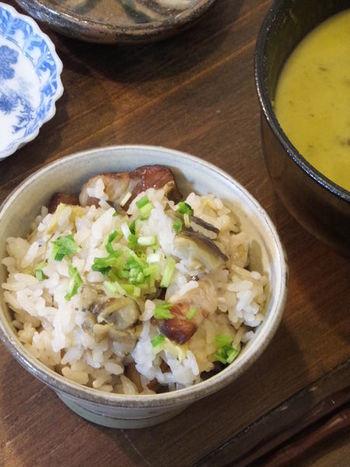 あらかじめ切った茄子とベーコンをオリーブオイルで炒めてから、お米と一緒に炊き上げる洋風炊き込みご飯です。蒸しナスのようにとろける茄子の味わいが美味。お好みで粉チーズをふっても美味しそうですね。