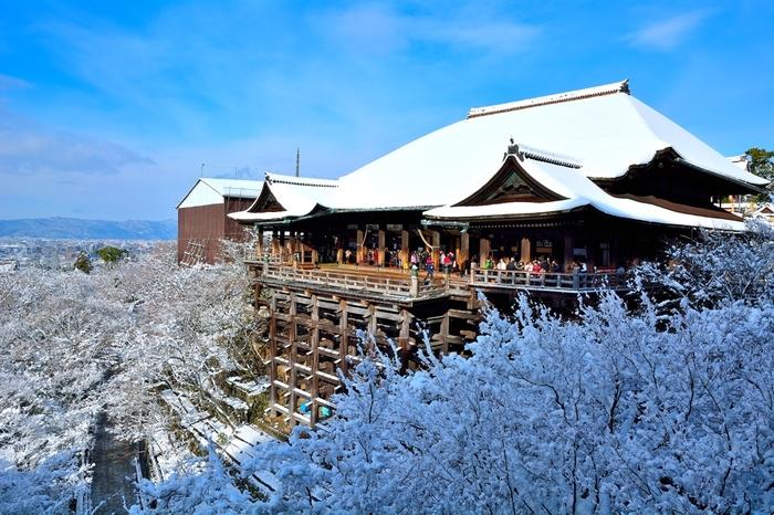 美しく雪化粧した清水寺本堂です。冬の清水寺もとても風情があります。