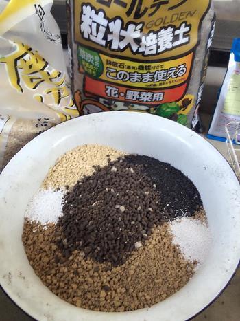 基本的な土の配合は「赤玉土3:鹿沼土3:腐葉土4」ですが、簡単に始めたい場合は多肉植物用の培養土を使うか、サボテン用の土と草花用培養土を半々で混ぜた土でもOK。  また素焼き鉢だと水分が切れやすく、プラ鉢や塗り鉢だと保湿性があるので、育てながら植物の様子に応じて土も調整していくと良いでしょう。