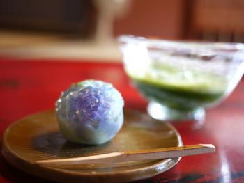 思わず写真におさめたくなる、和菓子と抹茶のコンビネーションにうっとり。写真は紫のグラデーションが美しい、本日の上生菓子「紫陽花(あじさい)」。