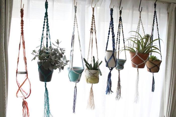 ハンドメイドをするならば、カラフルな紐を使ってみたり、ビーズを通したりして遊んでみるのもいいですね。沢山吊るすとまるでグリーンのカーテンのよう。