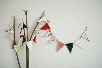 ガーランドのアドベントカレンダーも可愛くてGOOD!ガーランドの旗がポケットになっているので、お菓子などを詰めることも出来ます。