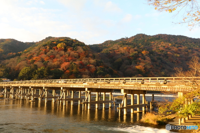 桂川に架かる全長155メートルの渡月橋は、嵐山のシンボルともいえます。カラフルに染まった山々と風情ある渡月橋が織りなす景色は絵画のような素晴らしさです。