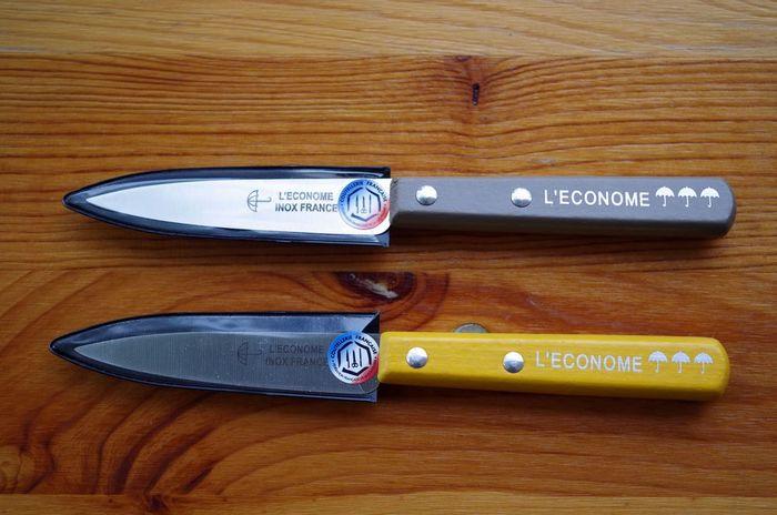 1819年にフランスで創業した老舗のメーカー「L'ECONOME(レコノム)」のペティナイフはウッドハンドルの形状や、傘のマークも可愛いデザインになっています。ビビットなイエローのカラーも使う人の気分を楽しくさせてくれそうですね。