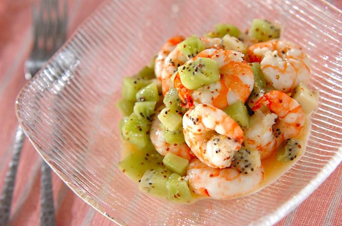 エビの甘さとキウイのフルーティな味わいは、晩酌のワインなどとも相性抜群です。