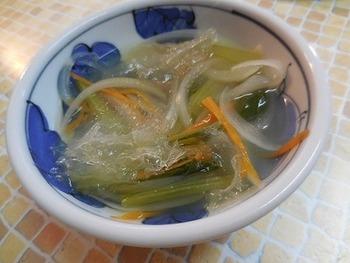 お野菜と寒天でお腹綺麗なスープ。 寒天で満足感が高まるのもいいですね。