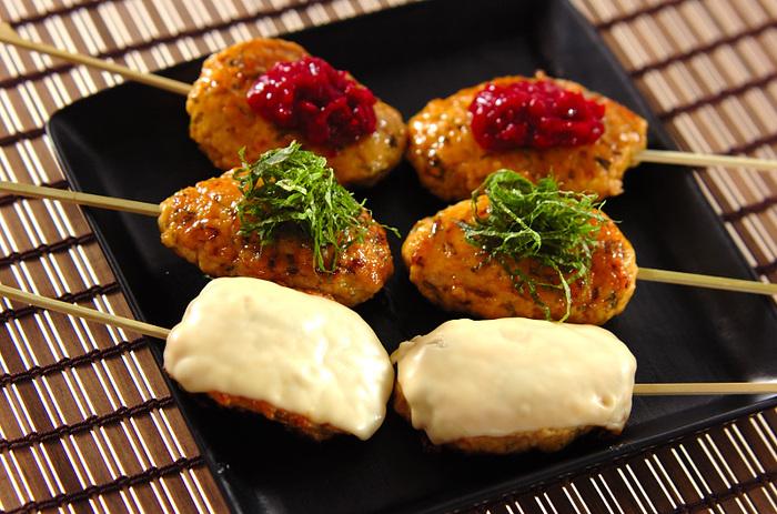甘辛美味しいつくねの照り焼き。3種類の味違いを作れば、目も舌も嬉しい!