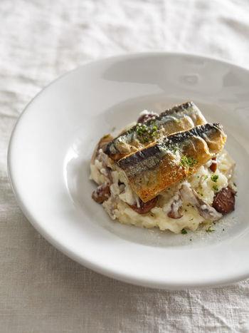 秋の味覚が存分に楽しめる秋刀魚と栗のチーズリゾット。焼き色がつくまでオリーブオイルでじっくり焼いた秋刀魚は香ばしく、甘みたっぷりの甘栗が良いアクセントに。コクと旨みが楽しめるおすすめの一品です。