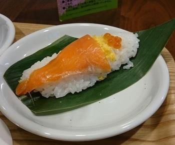 パノラマテラスのメニュー。 最近では、ご当地野菜を使ったオリジナル笹寿司も開発途上にあります。