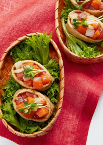 お刺身用の魚介をトッピングして作る、おいなりさんと、ちらし寿司がコラボしたような一品です。ビタミン豊富な発芽玄米を使った酢めしで、疲労回復にもおすすめ。