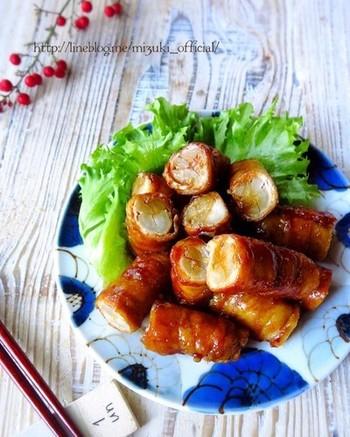 簡単に作れるボリュームおかず、豚肉のごぼう巻きのレシピ。ごぼうはレンジで下茹でできて楽ちん♪濃いめの照り焼きダレで、ご飯が進む味に。3~4日冷蔵保存でき、冷凍も可能です。