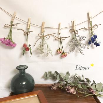 ガーランドのようにして吊るして乾燥させるのも素敵。そのまま飾っておけます。