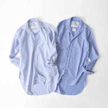 巧みなパターンから生み出される美しいシルエットに定評のある「フランクアンドアイリーン」のシャツ。ON/OFFどちらも使える品の良いシャツは、大人の女性なら一枚は持っておきたいところです。
