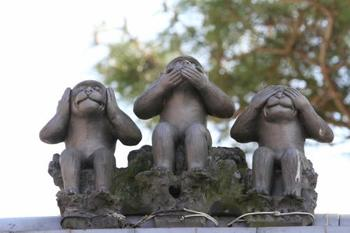 本堂と山門の屋根の上には、「見ざる、言わざる、聞かざる」の三猿がちょこんと座っています。庚申信仰では、猿は神の使いだと考えられているんだそうですよ。