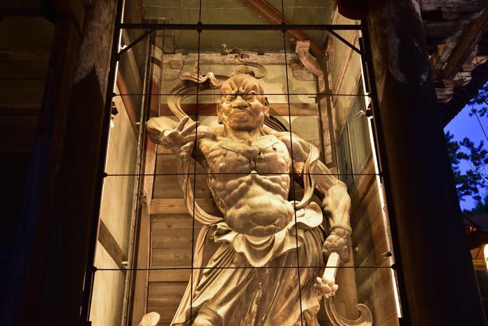 阿形の正面に安置されている口を閉じた力士は吽形(うんぎょう)。作者は、鎌倉時代に活躍した仏師、快慶、運慶を中心とした仏師集団と言われています。高さ8.4メートルにも及ぶ巨大な二体の木造金剛力塑像は、わずか69日間で造られました。