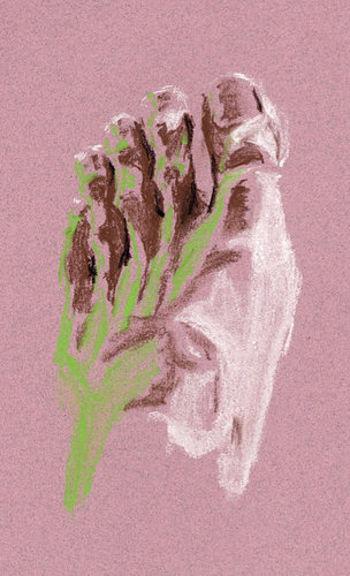 紙の色と画材の色の調和を目指したデッサンとして18世紀ロココ時代のフランスで流行った技法が「トロワクレヨン(3つのクレヨン)」です。ベージュやグレーなど白以外の紙に、白・黒・茶褐色のチョークを使うことが多かったようです。二色で行う場合はドゥークレヨン(2つのクレヨン)と呼ばれているそう。  通常白い紙に描く場合は影(色の濃い部分)を書き重ねて表現しますが、白を用いることで明るい部分を描く描写に意識が向けられます。現在でもデッサンの一貫として美術系の授業で取り組まれることが多い技法です。写真ではピンクの紙に描いていますが、グレーやベージュの紙での制作が多いかと思います。 特に光の描写が必須になる油絵やアクリルガッシュなど不透明技法の練習にもぴったりのデッサン画なのです。
