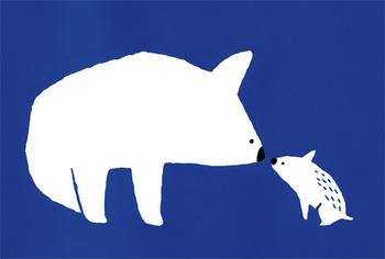 ▪️kanaes 「あいさつ」POST CARD/5 sheet set  「あいさつ」と名づけられたこちらは、シロクマとイノシシ、大きなどうぶつと小さなどうぶつが鼻をつきあわせている姿にほっこり。