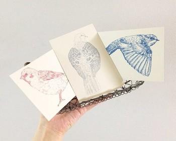 ▪️nemunoki paper item 野鳥ポストカードセット  デフォルメされたデザインもかわいいですが、こんなリアルな絵もおしゃれ。スズメ、ハト、ツバメという身近な鳥たちがカードの繊細に描かれていて、眺めているだけで楽しそうです。