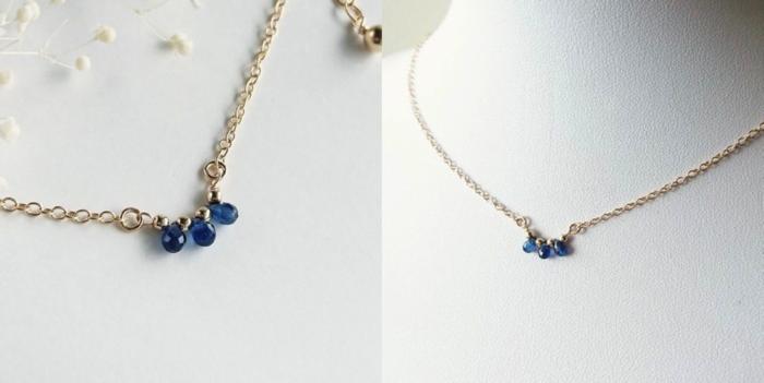小ぶりなサファイア3粒を用いたシンプルなネックレスは、   派手になりすぎず、さりげない輝きで日常使いにもぴったりです。