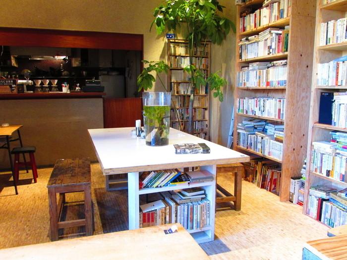 心の琴線に触れるような読書体験ができる場所です。店内の高い本棚には約2万冊の本があり、これらの本はすべてオーナーの草彅さんが所有しているものだそう。
