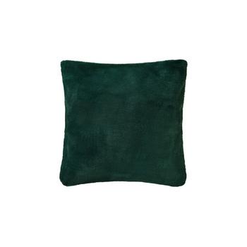 いつまでも抱えていたくなる、柔らかいフェイクファー素材のクッションカバー。深みのあるグリーンが大人っぽいインテリアに似合います。肌触りが良いのでベッドに置いても◎