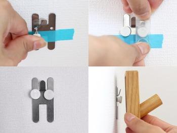 このように、特殊なピンを使用して、壁に開く穴を最小限にとどめることができるので、安心して取り付けることができるんです。