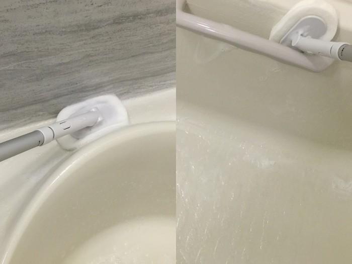 お風呂掃除用のスポンジにも、ワンタッチで付け替えることができます。