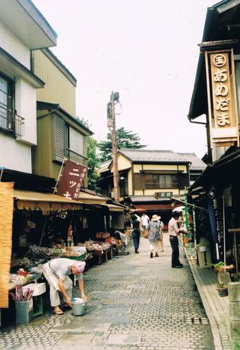 蔵造りの街並みから1本入ったところにある、石畳のレトロな路地。駄菓子屋が連なる軒並みは、思わず走り出したくなるくらいワクワクする景色です。