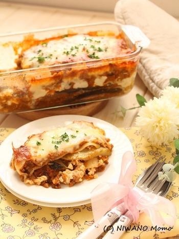 ■リコッタチーズと茄子のラザニア 生地を薄く板状に伸ばしたラザニアもパスタの仲間です。ラザニアには濃厚なソースとチーズがマッチング。オーブンで焼いてそのままテーブルに出せるのも嬉しい一品です。